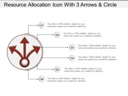 Resource Allocation Icon With 3 Arrows And Circle Ppt Model