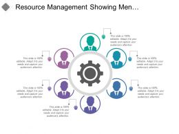 Resource Management Showing Men Silhouettes With Gear