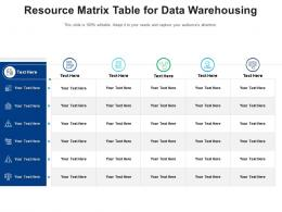 Resource Matrix Table For Data Warehousing Infographic Template