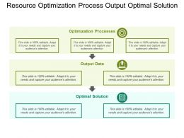 Resource Optimization Process Output Optimal Solution