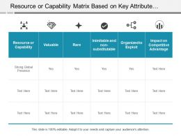 Resource Or Capability Matrix Based On Key Attribute With Impact On Competitive Advantage