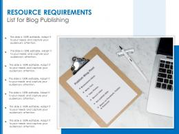 Resource Requirements List For Blog Publishing