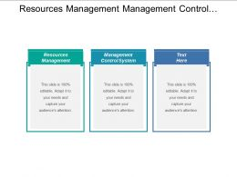 Resources Management Management Control System Cultural Transformation Management