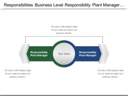 Responsibilities Business Level Responsibility Plant Manager Public Value