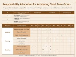 Responsibility Allocation For Achieving Short Term Goals Status Each Friday Ppt Slides