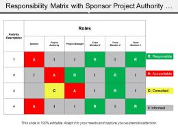 Responsibility Matrix With Sponsor Project Authority And Team Member