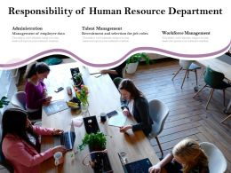 Responsibility Of Human Resource Department