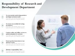 Responsibility Of Research And Development Department