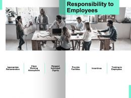 Responsibility To Employees Provide Facilities Ppt Powerpoint Presentation Icon Vector
