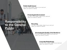 Responsibility To The General Public Corporate Philanthropy Public Health Issues Ppt Powerpoint Presentation