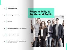 Responsibility To The General Public Health Issues Ppt Powerpoint Presentation Ideas Deck