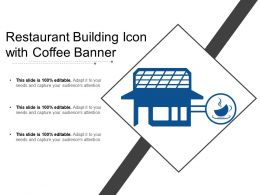 Restaurant Building Icon With Coffee Banner