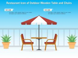 Restaurant Icon Of Outdoor Wooden Table And Chairs