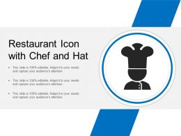 Restaurant Icon With Chef And Hat