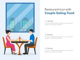 Restaurant Icon With Couple Eating Food