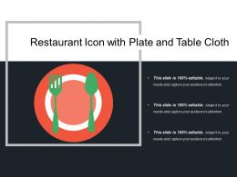 Restaurant Icon With Plate And Table Cloth