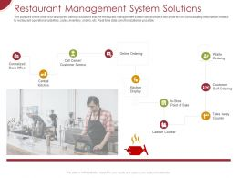 Restaurant Management System Solutions Ppt Powerpoint Presentation Styles Icons