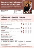 Restaurant Service Customer Satisfaction Survey Report Presentation Report Infographic PPT PDF Document