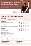 Restaurant Service Customer Satisfaction Survey Report Presentation Report Infographic PPT PDF Document