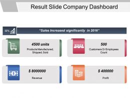 Result Slide Company Dashboard Powerpoint Slide Rules