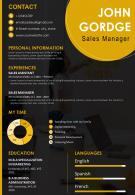 Resume Template Sales Manager CV Visual Resume