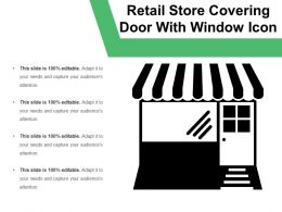 Retail Store Covering Door With Window Icon