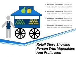 Retail Store Showing Person With Vegetables And Fruits Icon
