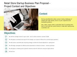 Retail Store Startup Business Plan Proposal Project Context And Objectives Ppt Ideas