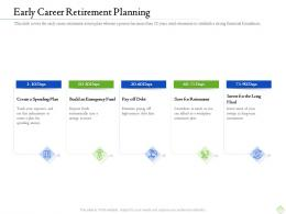 Retirement Planning Early Career Retirement Planning Ppt Template Visual Aids