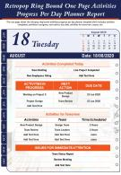 Retropop Ring Bound One Page Activities Progress Per Day Planner Report PPT PDF Document