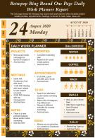 Retropop Ring Bound One Page Daily Work Planner Report Infographic PPT PDF Document