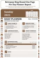 Retropop Ring Bound One Page Per Day Planner Report Infographic PPT PDF Document