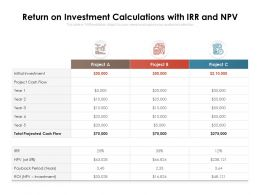Return On Investment Calculations With IRR And NPV