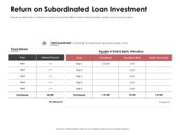 Return On Subordinated Loan Investment Allocation Ppt Powerpoint Presentation File Files