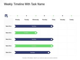 Returns Management Weekly Timeline With Task Name Monday To Sunday Ppt Visuals