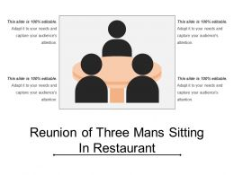 Reunion Of Three Mans Sitting In Restaurant