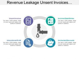 Revenue Leakage Unsent Invoices Incorrect Data Entries Image With Icons