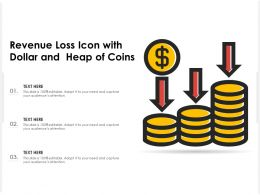 Revenue Loss Icon With Dollar And Heap Of Coins
