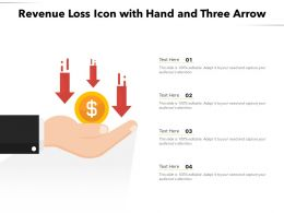 Revenue Loss Icon With Hand And Three Arrow