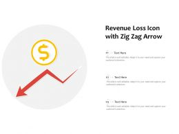 Revenue Loss Icon With Zig Zag Arrow
