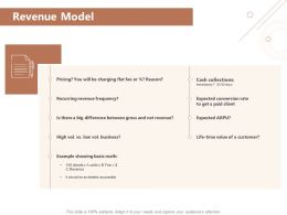 Revenue Model Cash Collections Ppt Powerpoint Presentation Visual Aids Deck