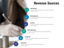 Revenue Sources Brokerage Fees Ppt Powerpoint Presentation Icon Picture
