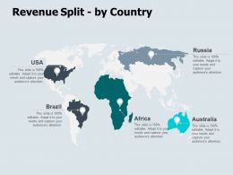 Revenue Split By Country Map Ppt Powerpoint Presentation Icon Aids