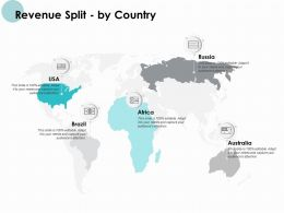 Revenue Split By Country Map Ppt Powerpoint Presentation Icon Professional