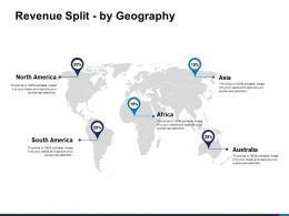 Revenue Split By Geography Map Ppt Powerpoint Presentation Graphic Tips