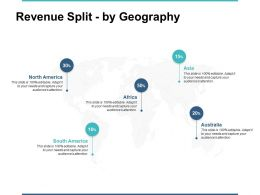 Revenue Split By Geography Ppt Powerpoint Presentation Gallery Slides