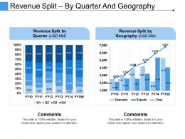 Revenue Split By Quarter And Geography Example Of Great Ppt