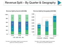Revenue Split By Quarter And Geography Ppt Slides Master Slide