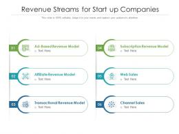 Revenue Streams For Start Up Companies