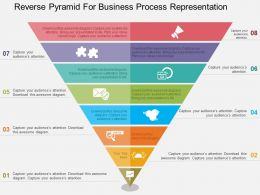 Reverse Pyramid For Business Process Representation Flat Powerpoint Design